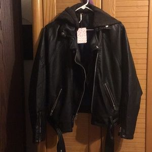 Freepeople leather black jacket